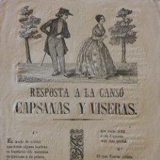 Coleccionismo: RESPOSTA A LA CANSÓ CAPSANAS Y VISERAS. ROMANCES, CAÑA Y CORDEL. BARCELONA, IMP. SÁNCHEZ. Lote 247658550