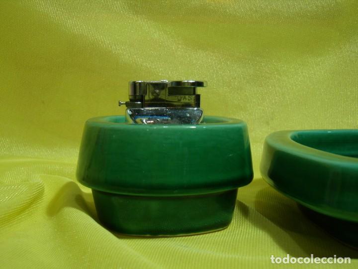 Coleccionismo: Juego fumador cerámica verde, años 70, Nuevo sin usar. - Foto 2 - 248265940