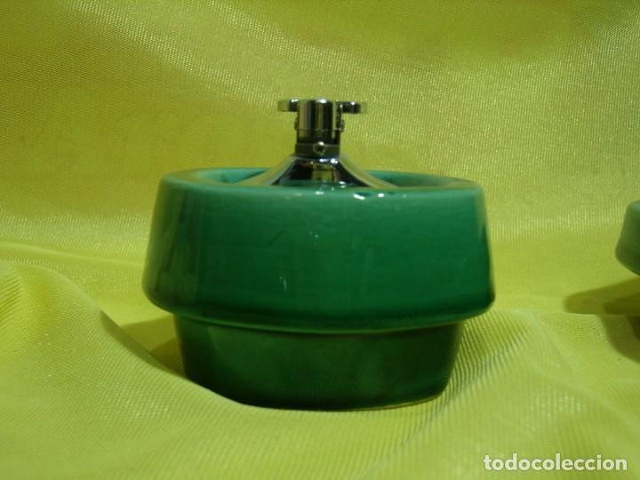 Coleccionismo: Juego fumador cerámica verde, años 70, Nuevo sin usar. - Foto 3 - 248265940