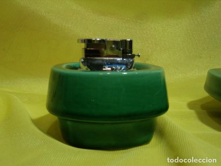 Coleccionismo: Juego fumador cerámica verde, años 70, Nuevo sin usar. - Foto 4 - 248265940