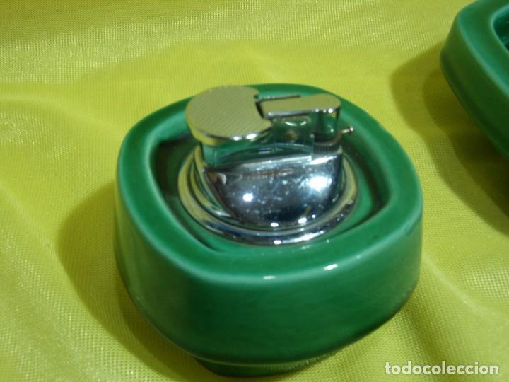 Coleccionismo: Juego fumador cerámica verde, años 70, Nuevo sin usar. - Foto 5 - 248265940