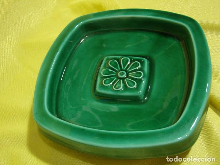 Coleccionismo: Juego fumador cerámica verde, años 70, Nuevo sin usar. - Foto 7 - 248265940