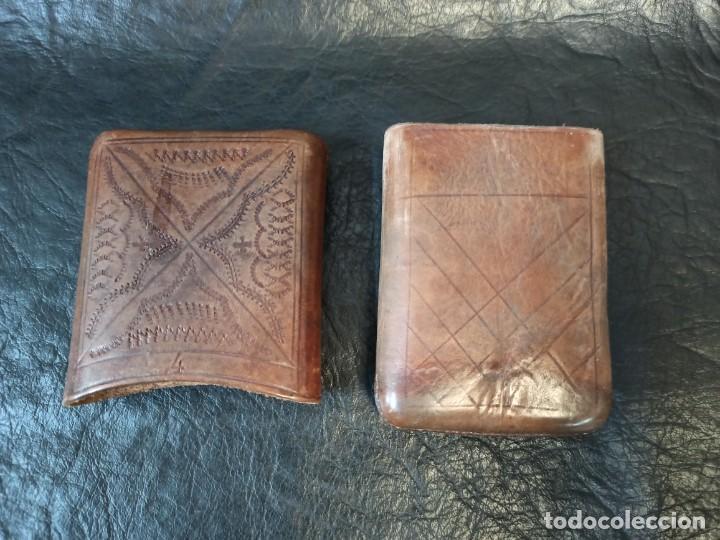 Coleccionismo: Purera- tabaquera en cuero repujado y paquete de tabaco antiguo.B2 - Foto 3 - 248944765