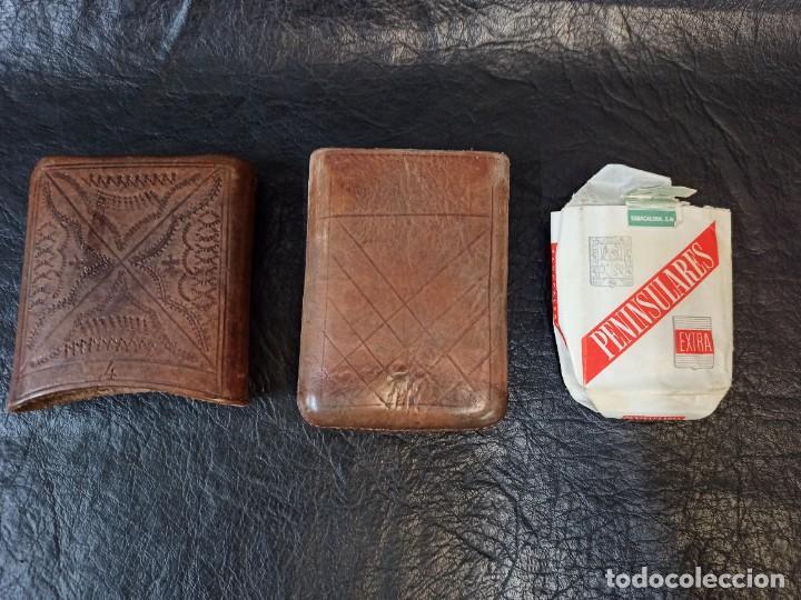 Coleccionismo: Purera- tabaquera en cuero repujado y paquete de tabaco antiguo.B2 - Foto 4 - 248944765
