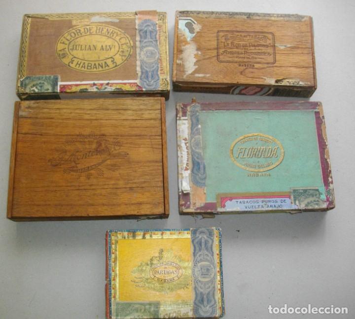 COLECCION CAJAS PUROS HABANOS CUBA (( 5 CAJAS ANTI )FLORINDA- MONTERO- FLOR PILOTOS-ETC (Coleccionismo - Objetos para Fumar - Otros)