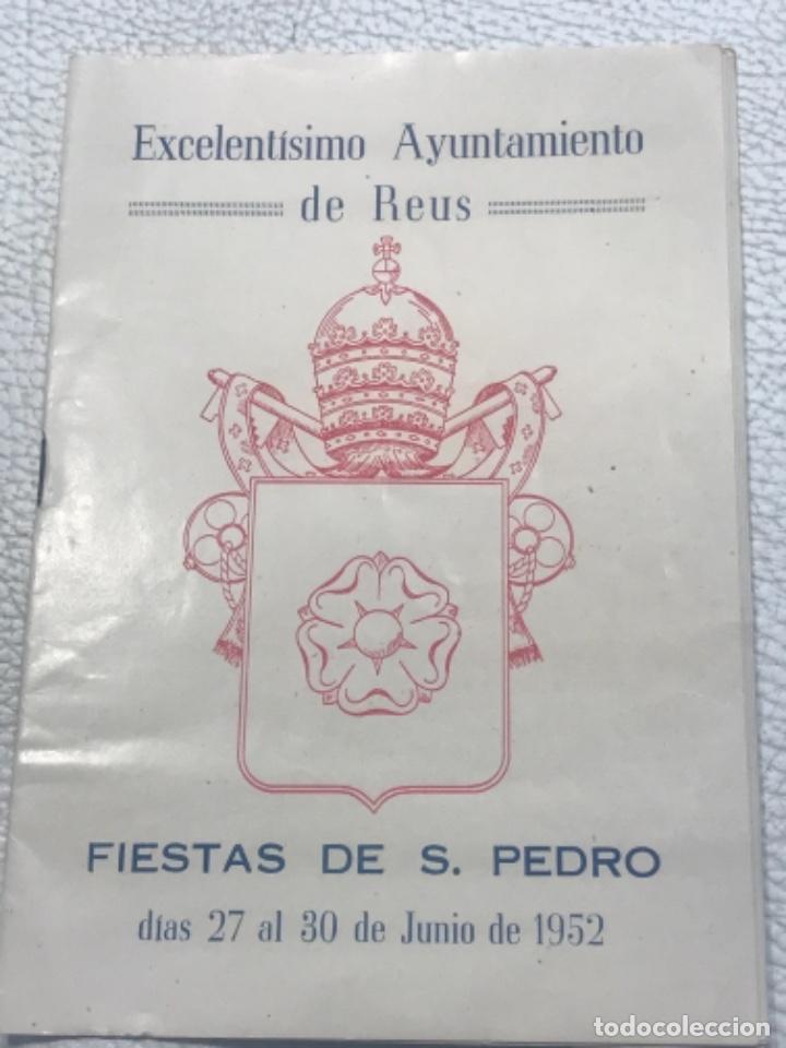 PROGRAMA DE LA FIESTA MAYOR DE REUS, TARRAGONA. 1952 (Coleccionismo - Laminas, Programas y Otros Documentos)