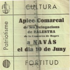 """Coleccionismo: 1930 1939 CA. APLEC COMARCAL DELEGACIONS DE """"PALESTRA"""" DEL BAGES A NAVÀS 10 JUNY. Lote 253451130"""