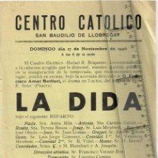"""Coleccionismo: 1946 CENTRO CATÓLICO SAN BAUDILIO LLOBREGAT (SANT BOI) """"LA DIDA"""" F. SOLER (PITARRA) CUADRO ESCÉNICO. Lote 253492190"""