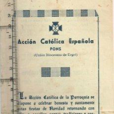 Coleccionismo: 1942 ACCIÓN CATÓLICA ESPAÑOLA PONS 1º CONCURSO DE PESEBRES Y OTROS FESTEJOS NAVIDEÑOS. Lote 253559595