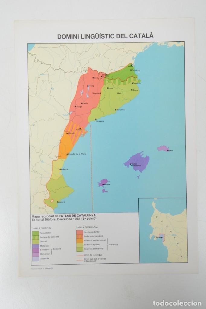 LÁMINA DE MAPA DOMINI LINGUÜÍSTIC DEL CATALÁ (Coleccionismo - Laminas, Programas y Otros Documentos)