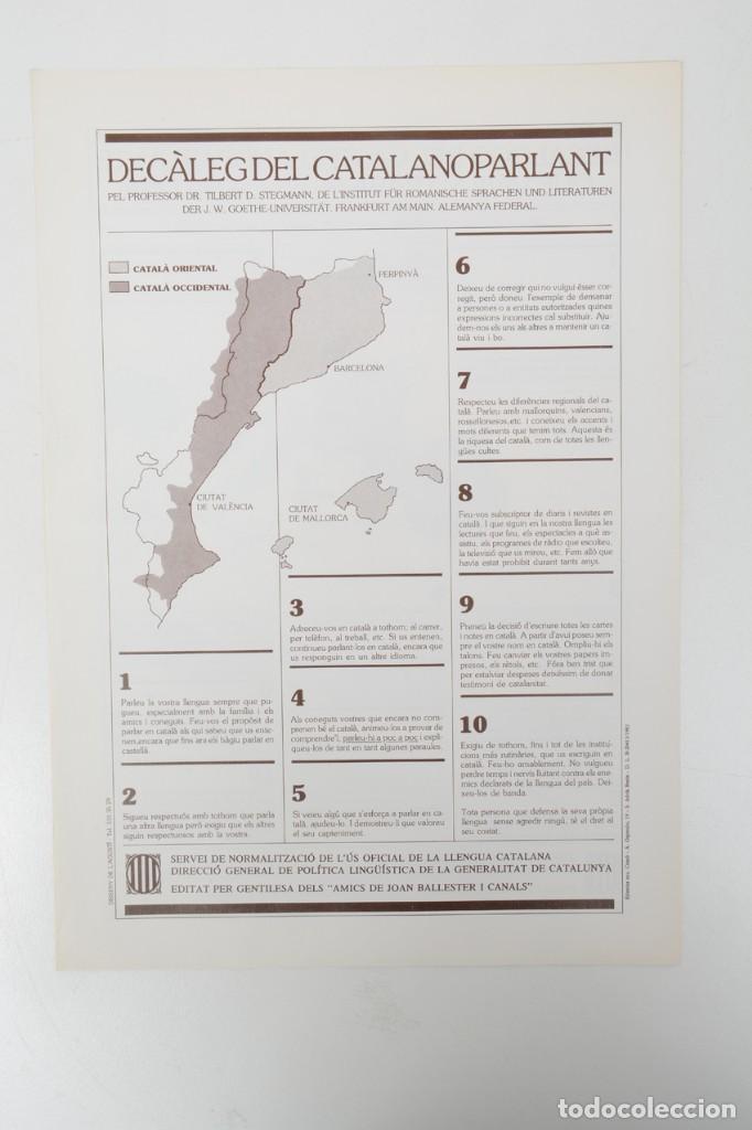 DECÀLEG DEL CATALANOPARLANT 1983 (Coleccionismo - Laminas, Programas y Otros Documentos)