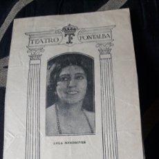 Coleccionismo: PROGRAMA DEL TEATRO FONTALBA DE 1929, PRIMERA ACTRIZ LOLA MEMBRIVES. Lote 254546785