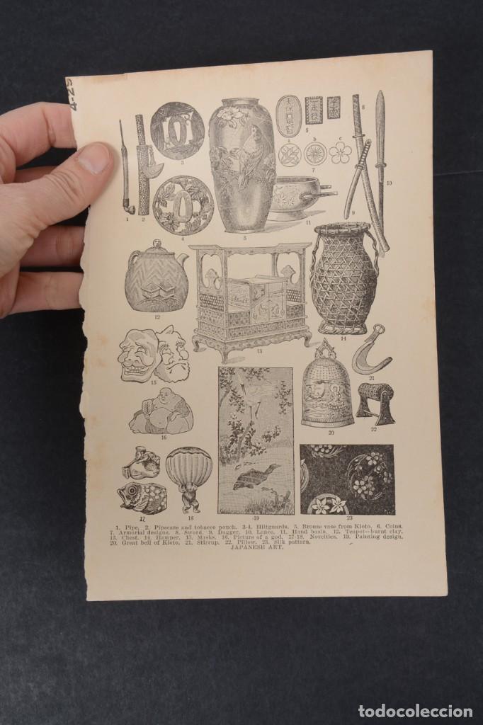Coleccionismo: Lamina de enciclopedia antigua arte japonés blanco y negro - Foto 4 - 254613570