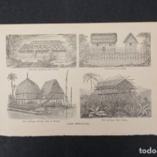 Coleccionismo: LAMINA DE ENCICLOPEDIA ANTIGUA CABAÑAS DE LAGO. Lote 254614415
