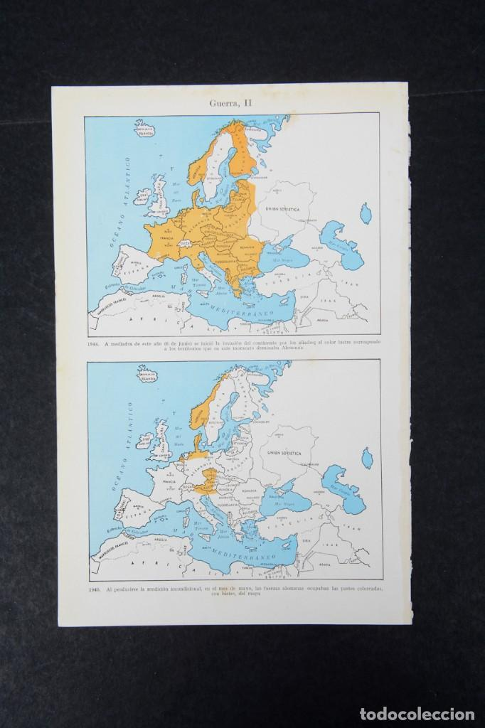 Coleccionismo: amina de enciclopedia Espasa Calpe mapas de la II Guerra mundial - Foto 4 - 254615540