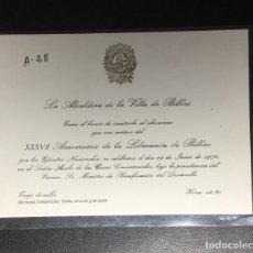 Coleccionismo: INVITACION DE LA ALCALDESA DE BILBAO , ANIVERSARIO LIBERACIÓN DE BILBAO .. Lote 254961840