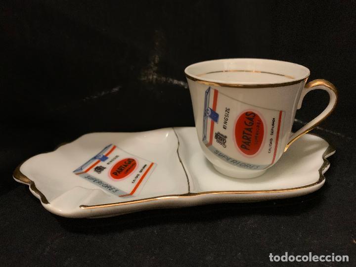 Coleccionismo: Curioso juego de plato, copa y cenicero publicitario cigarros o tabaco Partagas. Muy raro. Impecable - Foto 4 - 257997165