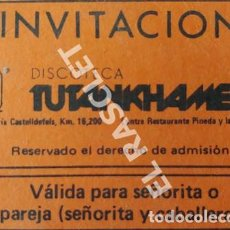 Coleccionismo: ANTIGÜA INVITACIÓN DISCOTECA TUTANKHAMEN DE CASTELLDEFELS - BARCELONA. Lote 258763485