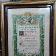 Coleccionismo: CERTIFICADO DE ESTUDIOS DE TENDEDEROS DE LIBROS 1932. Lote 259933525