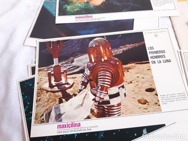 Coleccionismo: Fichas Carrera Espacial. Publicidad farmacia Maxicilina. El Hombre sale de la Tierra. 1969 - Foto 2 - 261277945