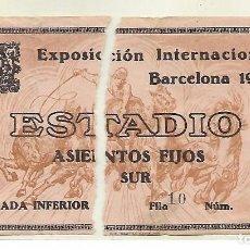 Coleccionismo: ENTRADA EXPOSICION INTERNACIONAL BARCELONA 20 MAYO 1929 - ENTRADA ESTADIO ASIENTOS FIJOS - VER FOTO. Lote 262239565