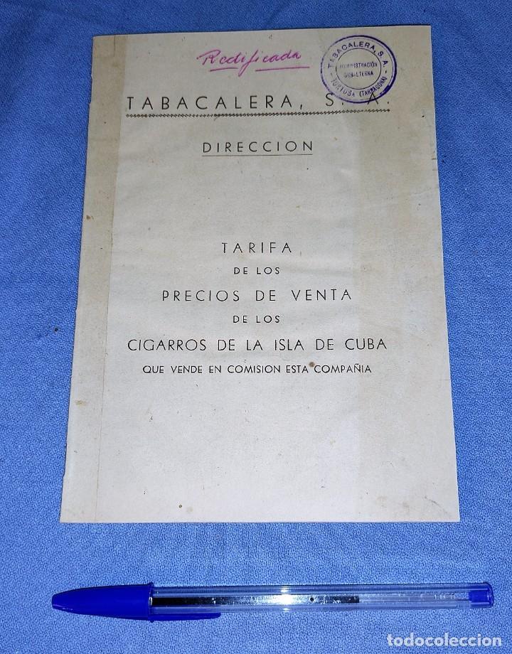 TARIFA PRECIOS VENTA CIGARROS ISLA DE CUBA CON SELLO TABACALERA DE TORTOSA AÑO 1949 (Coleccionismo - Objetos para Fumar - Otros)
