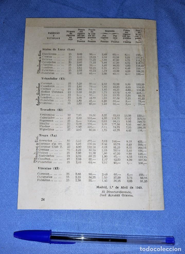Coleccionismo: TARIFA PRECIOS VENTA CIGARROS ISLA DE CUBA CON SELLO TABACALERA DE TORTOSA AÑO 1949 - Foto 2 - 262920310