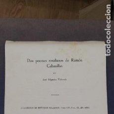 Coleccionismo: OS POEMAS ROSALIANOS DE RAMÓN CABANILLAS. JOSÉ FILGUEIRA VALVERDE. 1967. Lote 263808980