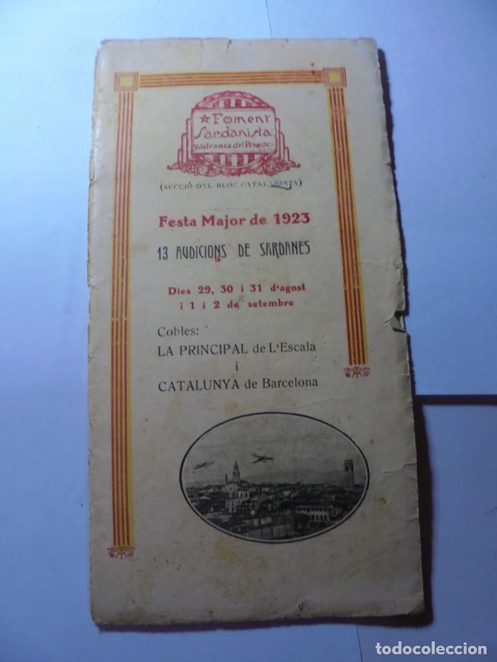 MAGNIFICO ANTIGUO PROGRAMA LA PRINCIPAL FESTA MAJOR VILAFRANCA DEL PENEDES DEL 1923 (Coleccionismo - Laminas, Programas y Otros Documentos)