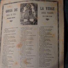 Coleccionismo: GOIG DE LA VERGE MARIA DE PUIG-LAGULLA VILALLEONS ANTIGAMENT MONTAGUT EN LA PLANA DE VICH. Lote 269061683