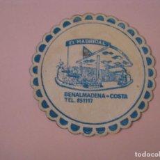 Coleccionismo: POSAVASOS SALA DE FIESTAS EL MADRIGAL. BENALMADENA COSTA.. Lote 269213433