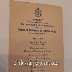 Coleccionismo: HOTEL RITZ. BARCELONA 1943. MENU CAMARA CORREDORES DE ALGODON HILADO. 17 X 11 CTMS. Lote 270907238