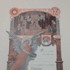Coleccionismo: ANTIGUO DIPLOMA EN BLANCO ILUSTRACIONES DE COLL SALIETI.. Lote 273271058