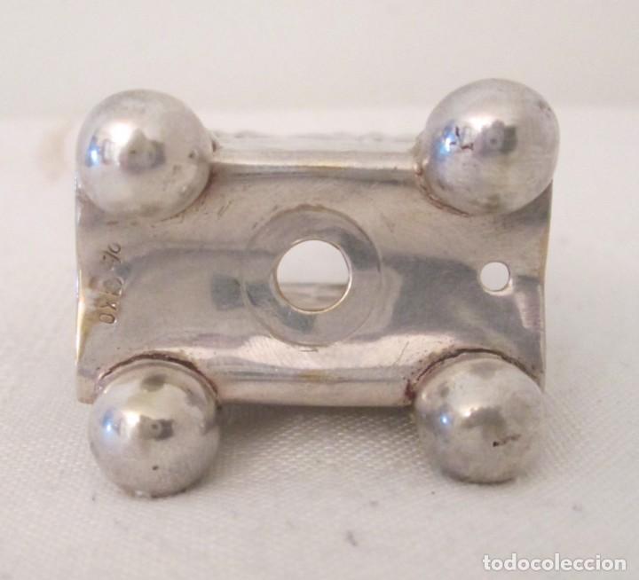 Coleccionismo: Antigua base para caja de cerillas, Modernista, en metal con baño de plata. Marcas en la base - Foto 5 - 276496298