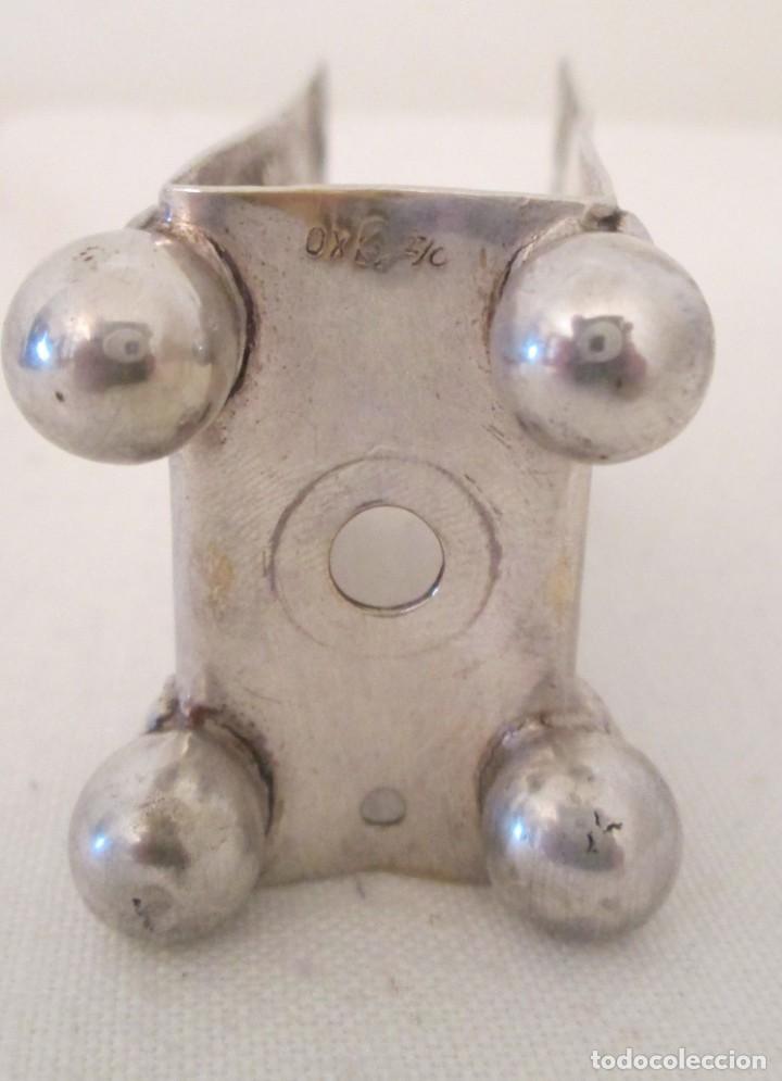 Coleccionismo: Antigua base para caja de cerillas, Modernista, en metal con baño de plata. Marcas en la base - Foto 6 - 276496298