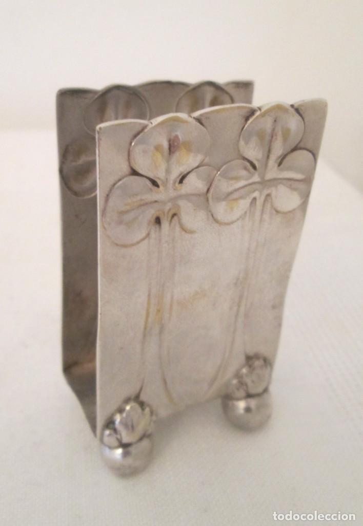 Coleccionismo: Antigua base para caja de cerillas, Modernista, en metal con baño de plata. Marcas en la base - Foto 9 - 276496298