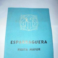 Coleccionismo: MAGNIFICO ANTIGUO PROGRAMA DE LA FIESTA MAYOR DE ESPARRAGUERA DEL 1961. Lote 277663308