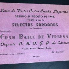 Collectionnisme: PROGRAMA CASINO ESPAÑA LLAGOSTERA 1948 SARDANAS.ANTOÑITA JORDA 6. Lote 277839998