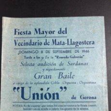 Collectionnisme: PROGRAM FIESTA MAYOR DE MATA LLAGOSTERA 1946.SARDANAS.COBLA UNIÓN DE GERONA 6. Lote 277840273