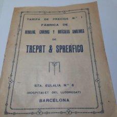 Coleccionismo: BARCELONA, ANTIGUA TARIFA DE PRECIOS DE LA FÁBRICA TREPAT & SPREAFICO. Lote 278694023