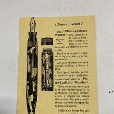 Coleccionismo: HOJA PUBLICITARIA PLUMA-LAPICERO WONDER. VER FOTOS. Lote 278704598
