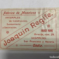 Coleccionismo: TARJETA PUBLICITARIA. FÁBRICA DE MOSAICOS. JOAQUÍN REGIFE. CÁDIZ. VER FOTOS. Lote 278705433