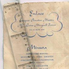 Coleccionismo: 1954 AGRAMUNT MENÚ BODA EUTIQUIO PEINADOR MARTÍN (EXIMIO VETERINARIO) Y Mª LUISA MINGUELL FERRER. Lote 278705658