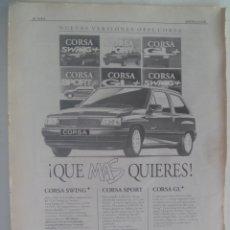 Coleccionismo: HOJA DE PERIODICO CON PUBLICIDAD DE COCHE OPEL CORSA , 1992. Lote 280510663