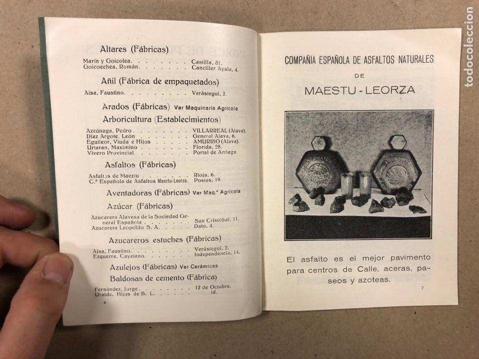 Coleccionismo: EXPOSICIÓN PERMANENTE INDUSTRIAS ALAVESAS. AÑOS 20. LIBRETO CON ÍNDICE PRODUCTORES ALAVESES - Foto 4 - 282563468