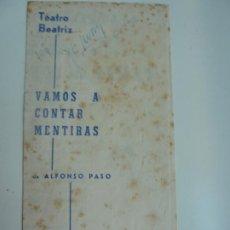 Colecionismo: TEATRO INFANTA BEATRIZ. VAMOS A CONTAR MENTIRAS. ALFONSO PASO. MADRID 1961. Lote 285447088