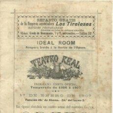 Coleccionismo: 3746.-TEATRO REAL-PROGRAMA UNICO OFICIAL TEMPORADA 1906-1907-ORFEO-ELENA LUCCI-ARMIDA PARSI. Lote 285447318