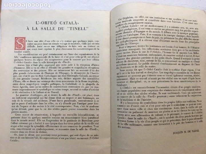Coleccionismo: XX Conferencia Inter. Lanera. Audición Íntima. Orfeó Català. I.G. Oliva de Vilanova. Barcelona, 1951 - Foto 3 - 285974228