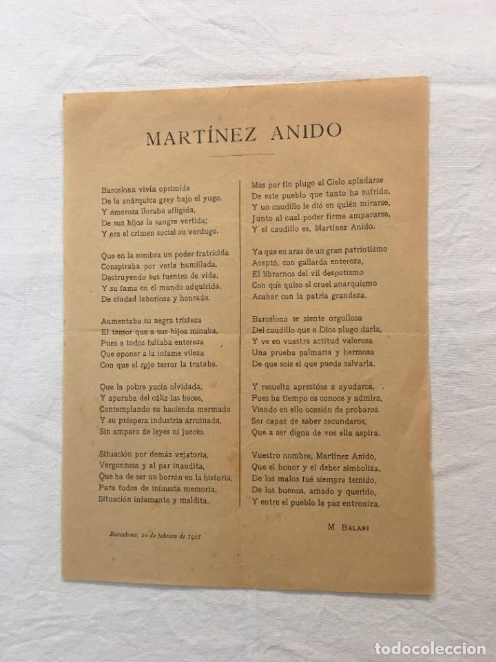 OCTAVILLA. BARCELONA. ODA POLÍTICA A MARTÍNEZ ANIDO POR M. BALARI. BARCELONA,1921. (Coleccionismo - Laminas, Programas y Otros Documentos)