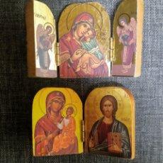 Coleccionismo: 2 MINI TRÍPTICOS RELIGIOSOS DE MADERA.. Lote 287942128